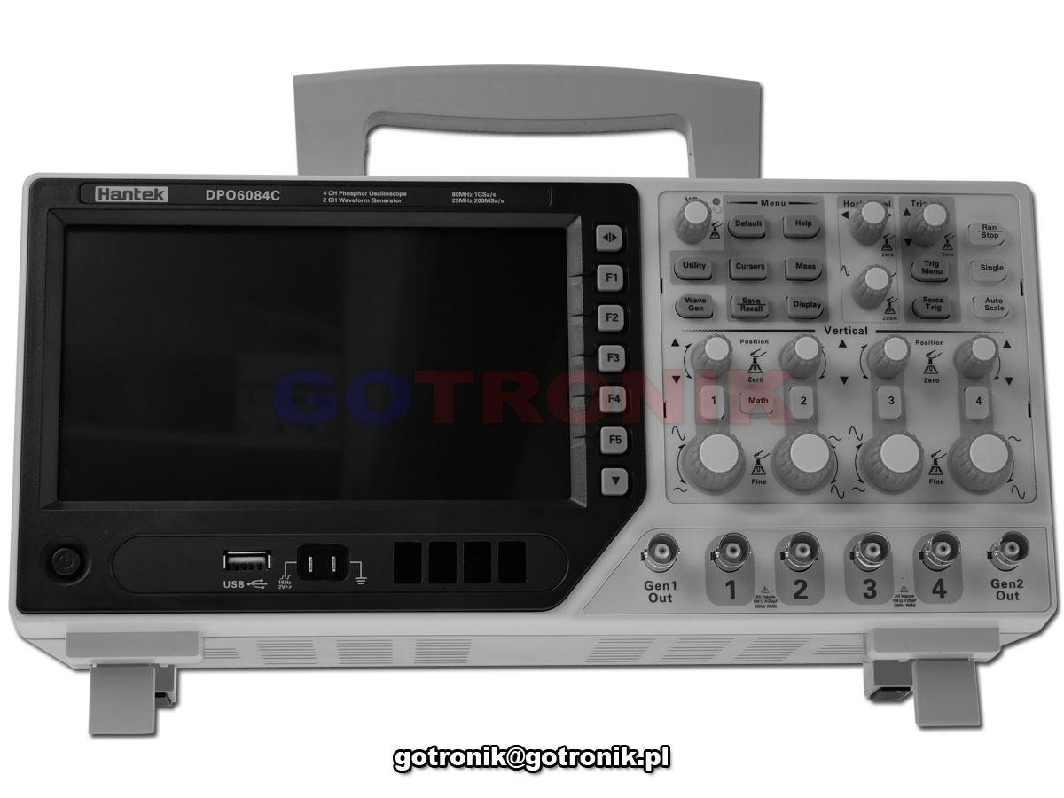 DPO6104C Hantek oscyloskop cyfrowy z generatorem funkcyjnym DDS
