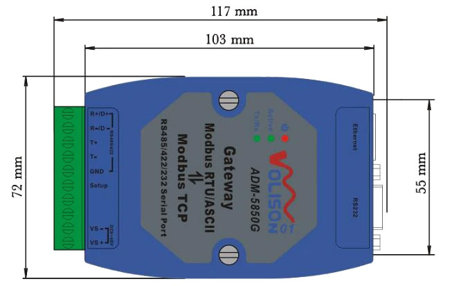 RS232 / RS422 / RS485 na Ethernet konwerter ADM-5850G ELEK-174
