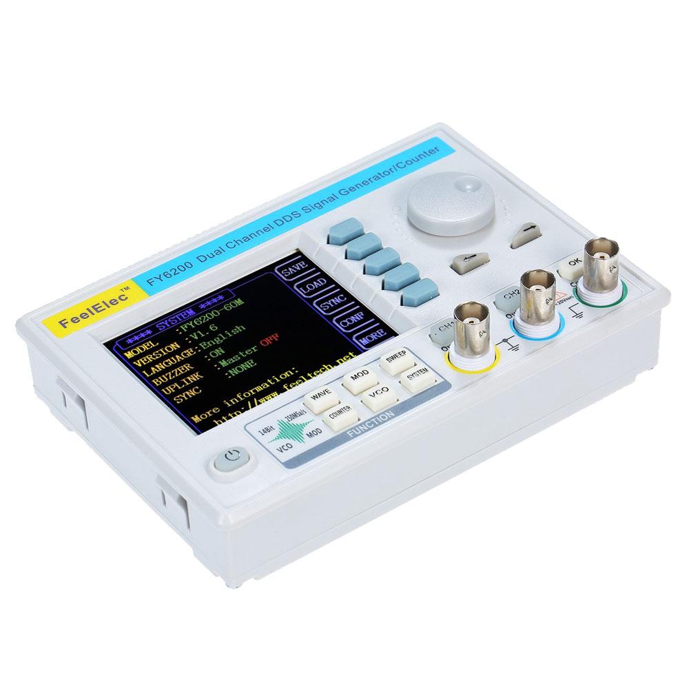 FY6200 FeelTech generator funkcyjny, generator przebiegów elektrycznych, generator DDS, generator z cyfrową syntezą częstotliwości, generator laboratoryjny, generator arbitralny