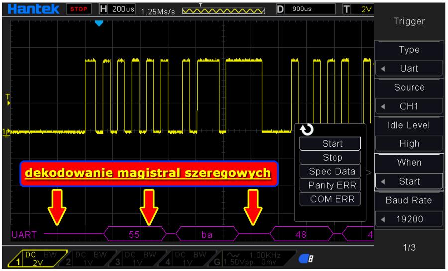 czterokanałowy oscyloskop cyfrowy DSO4084C Hantek 4 x 80MHz z generatorem funkcyjnym DDS