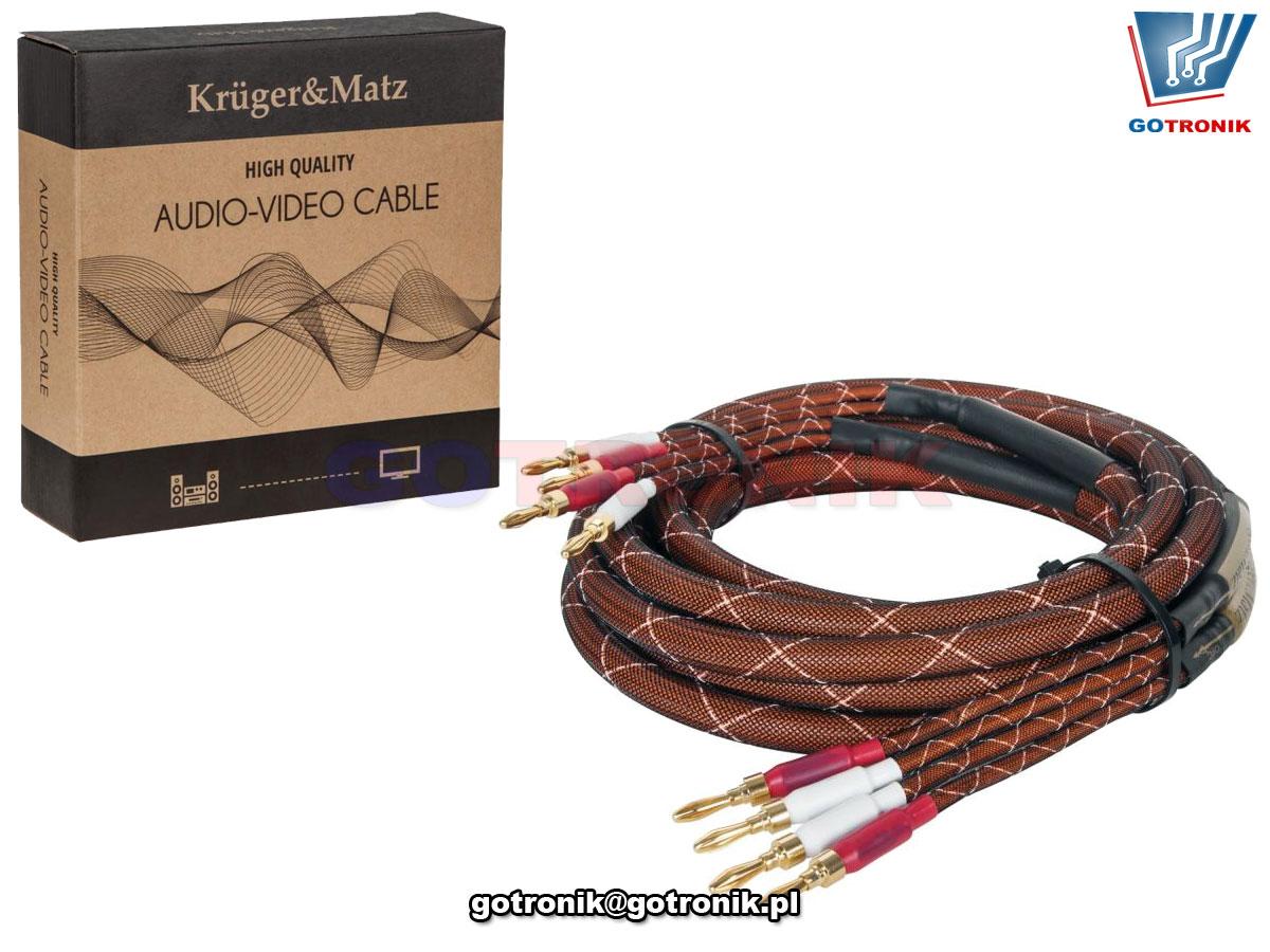 KM0335 produkcji Kruger-Matz Przewody głośnikowe banan 300cm OFC