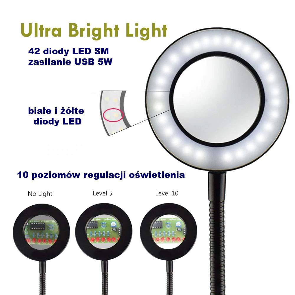 lampa LED z lupą soczewką powiększającą na elastycznym ramieniu typu gęsia szyjnka