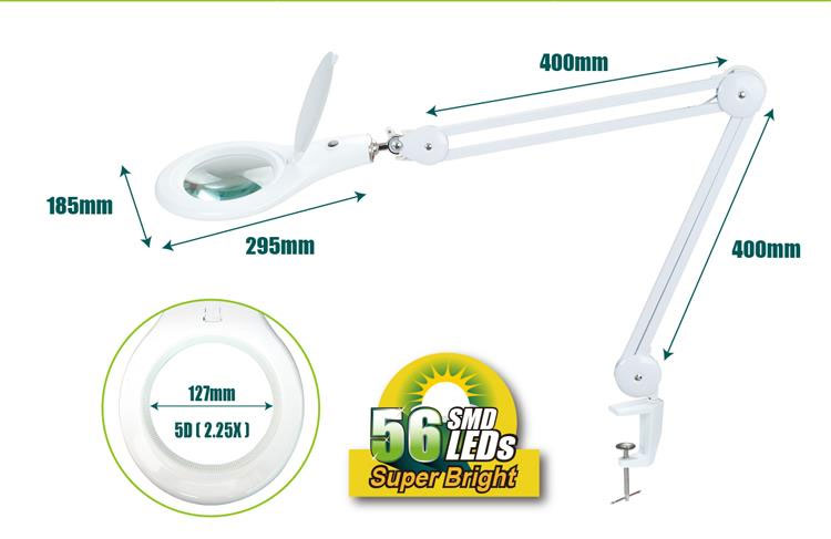 Lampa z lupą MA-1209LI produkcji Pro'skit do blatu 56led 5 cali 127mm