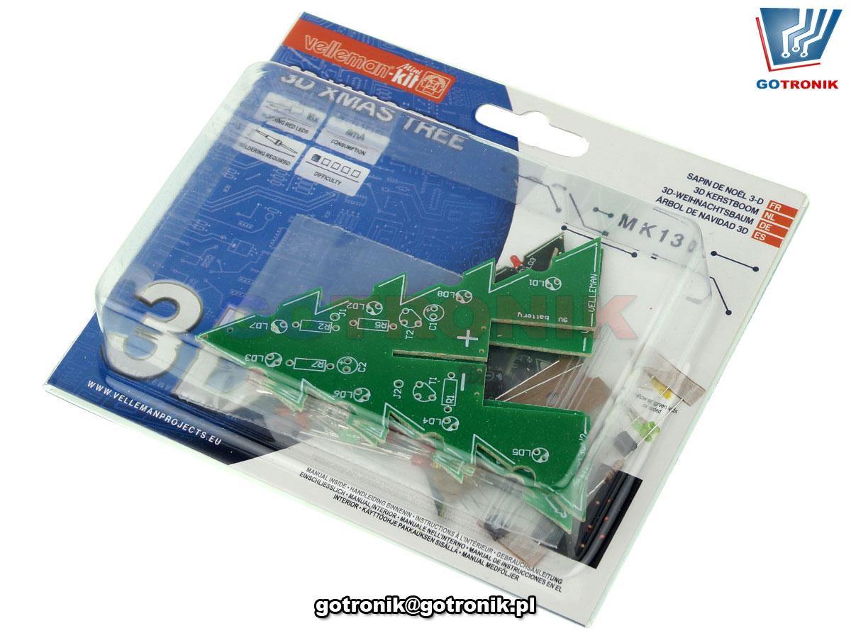 choinka 3d trójwymiarowa led efekt świetlny zestaw do samodzielnego montażu typu KIT DIY MK130 Velleman