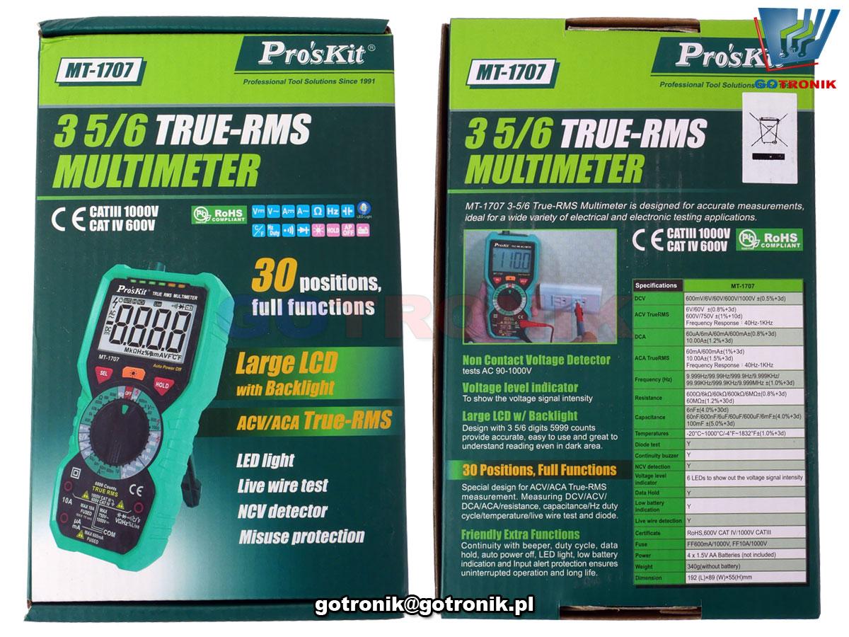 MT-1707 wielofunkcyjny multimetr cyfrowy True RMS Proskit