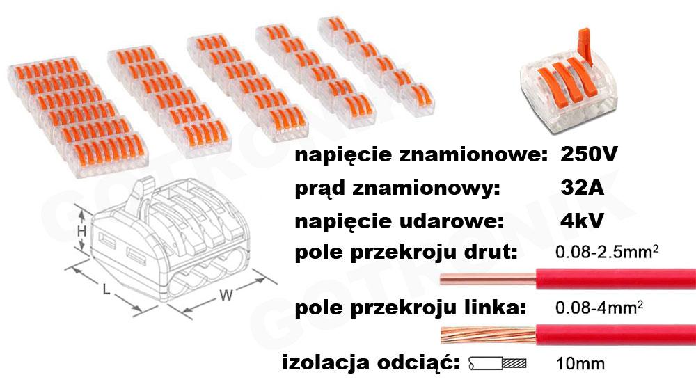 Zestaw szybkozłączek elektrycznych 60 elementów PCT z zawieszką NAR0861