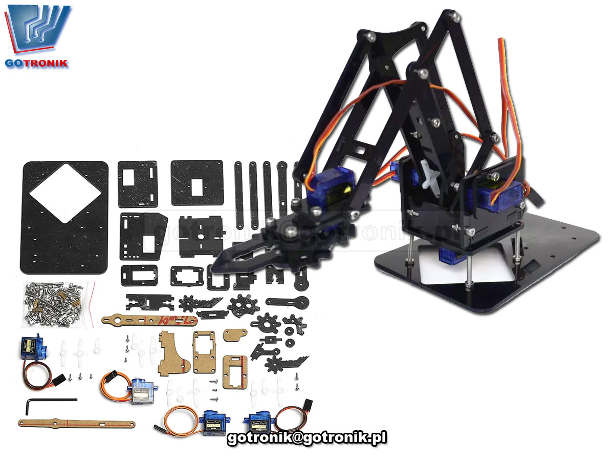 4DOF Robot Arm - ramię robota ZESTAW DO SAMODZIELNEGO MONTAŻU kit/diy