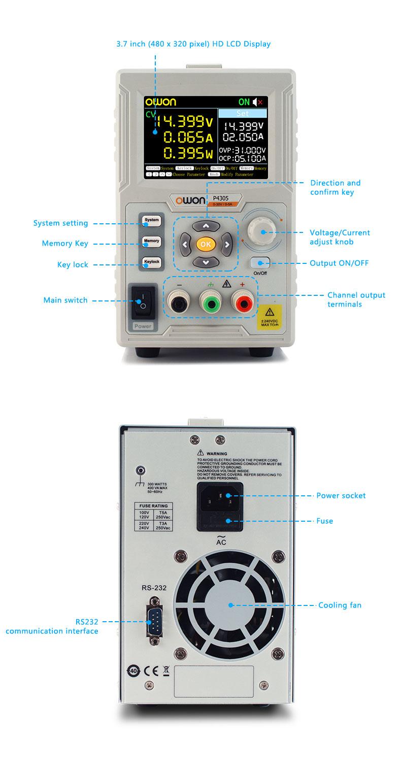 P4305 Owon zasilacz programowalny laboratoryjny 30V 5A 150W SCPI LabView RS232 USB cyfrowy sterowany LCD