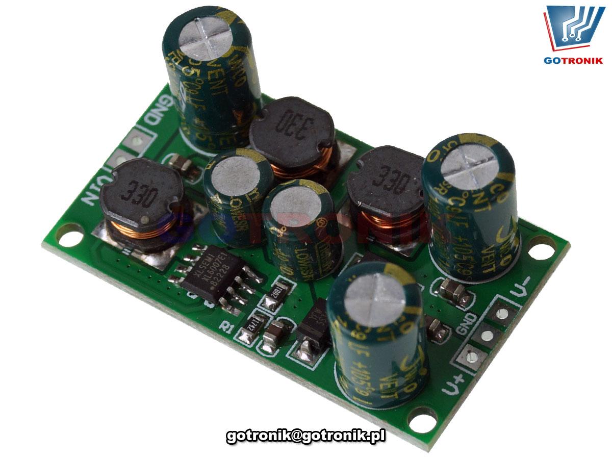 przetwornica napięcia symetrycznego, napięcie symetryczne, napięcie ujemne, przetwornica buck boost, impulsowa przetwornica napięcia, przetwornica xl6007, bte-945
