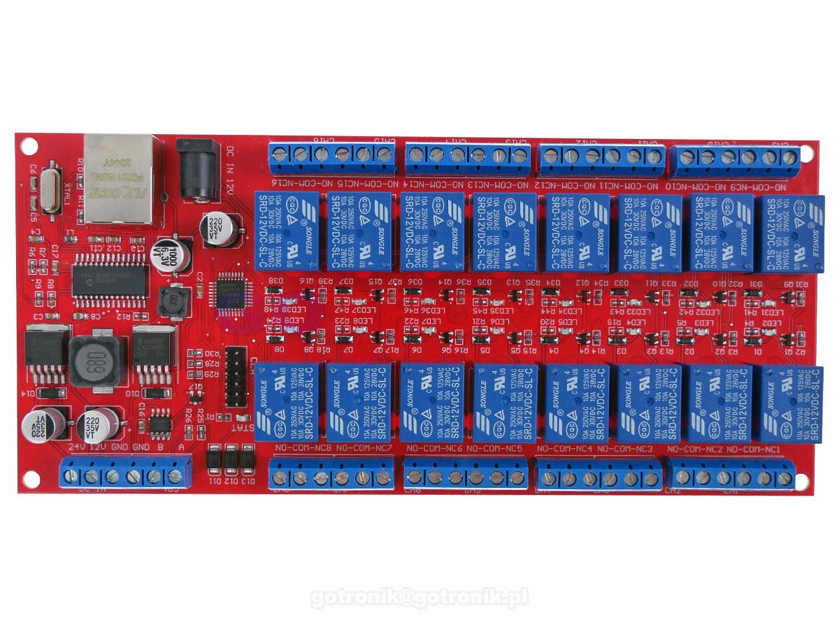 Moduł 16 przekaźników LAN Ethernet RS485 ModBus TCP/RTU RBS-016
