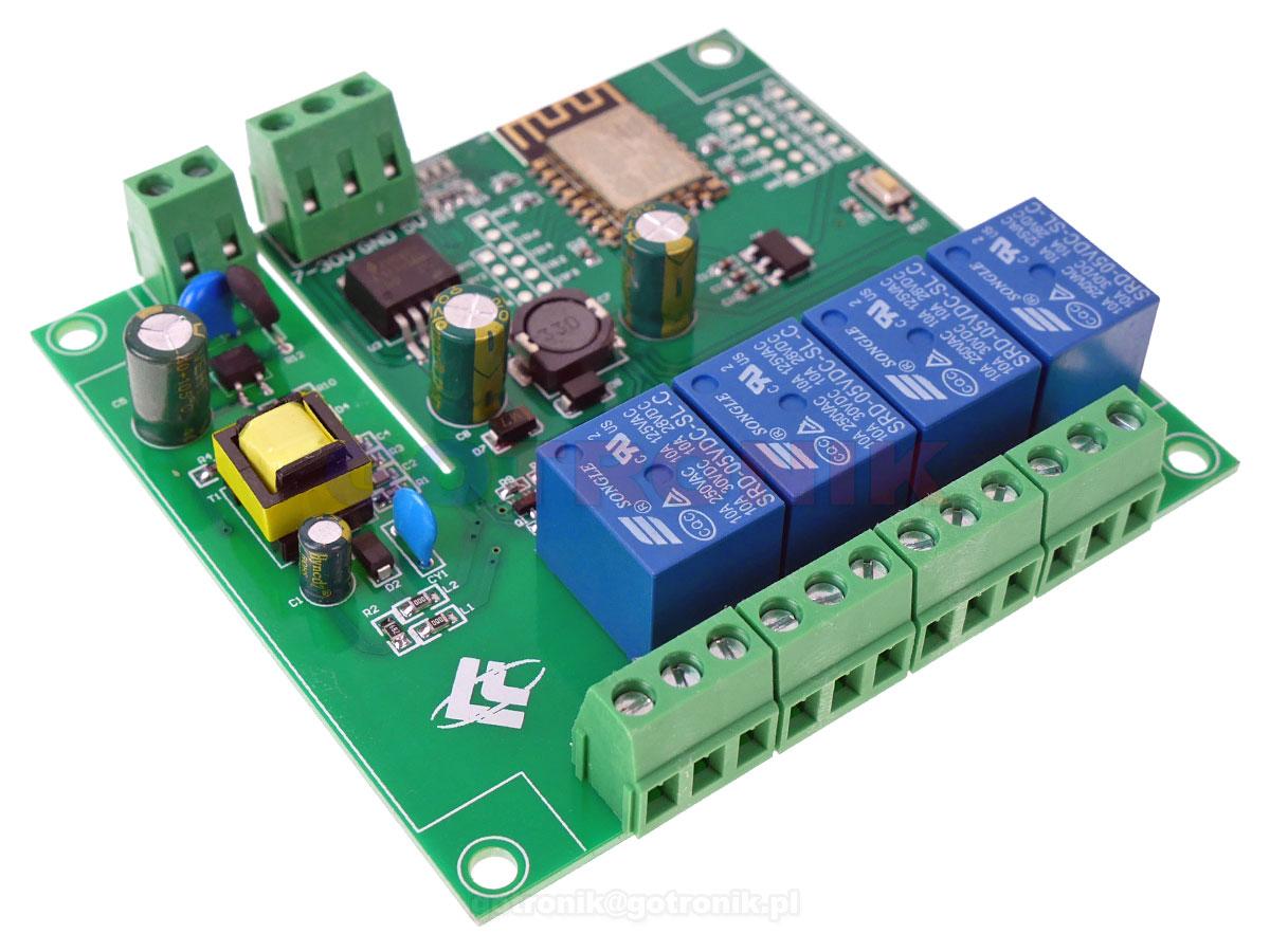 Moduł 4 przekaźniki z sterowanie WiFi ESP-12F wersja 5V/7-30V/220V RBS-045 RBS045