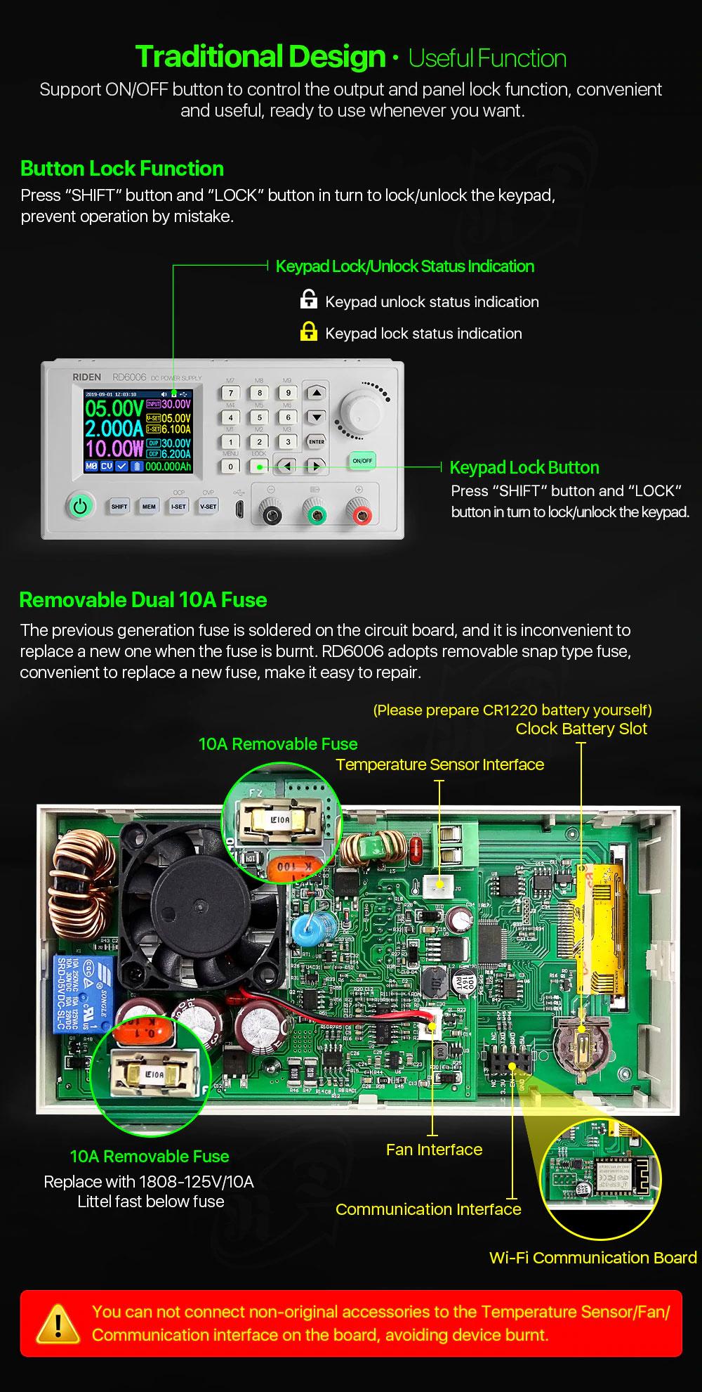 RD6006-W Riden moduł zasilacz laboratoryjny regulowany mikroprocesorowo 0V do 60V 6A 360W WiFi aplikacja Andorid