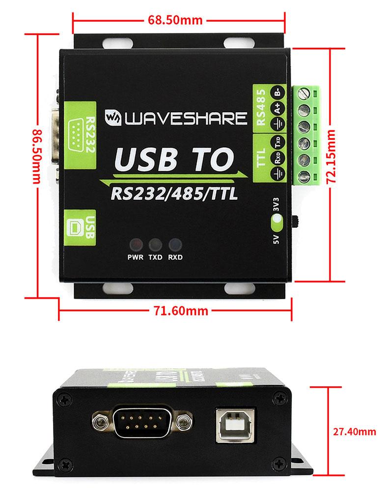 adapter konwerter przejściówka interfejsu USB TO RS232, USB TO RS485, USB TO TTL (UART) izolowana z izolacją WAVESHARE