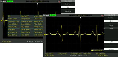 32 automatyczne pomiary parametrów i 5 wyświetlanie parametrów w dolnym ekranie