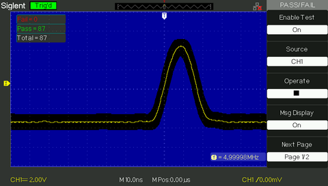 funkcja Pass Fail oscyloskop SDS1102CML+