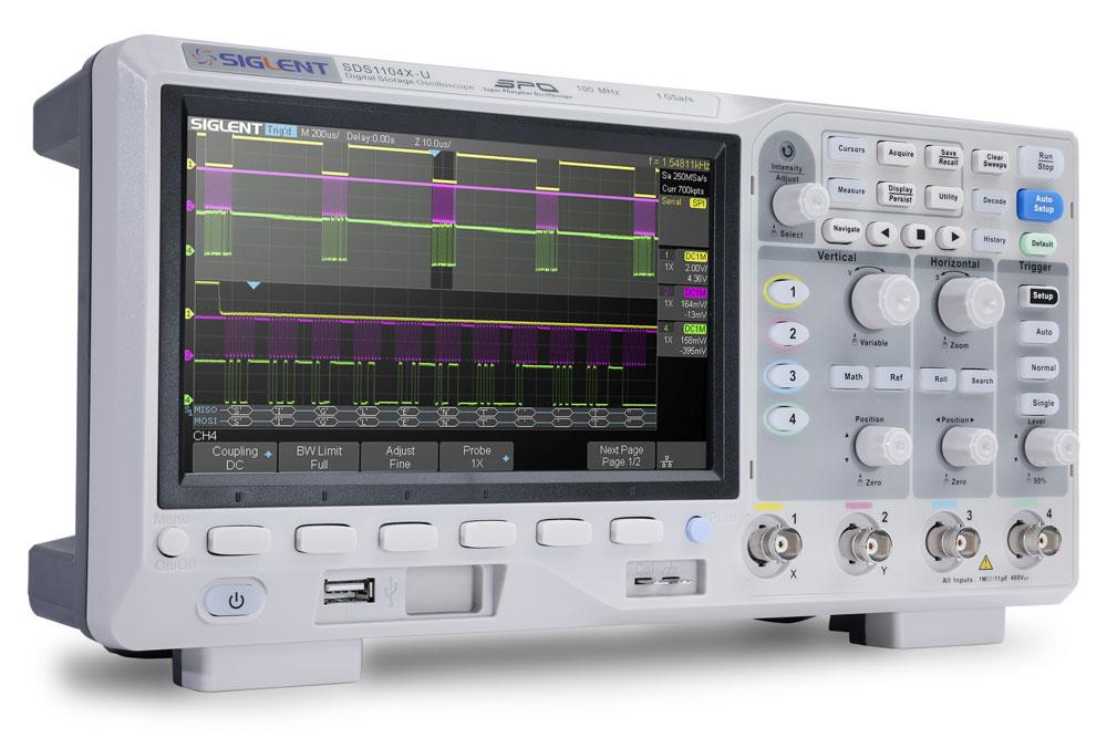 SDS1104X-U oscyloskop cyfrowy 4x100MHz Super Phosphor Siglent czterokanałowy