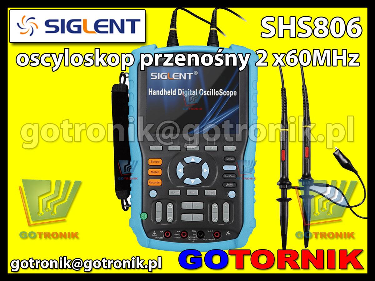 SHS806 oscyloskop przenośny 2 x 60MHz z multimetrem cyfrowym Siglent
