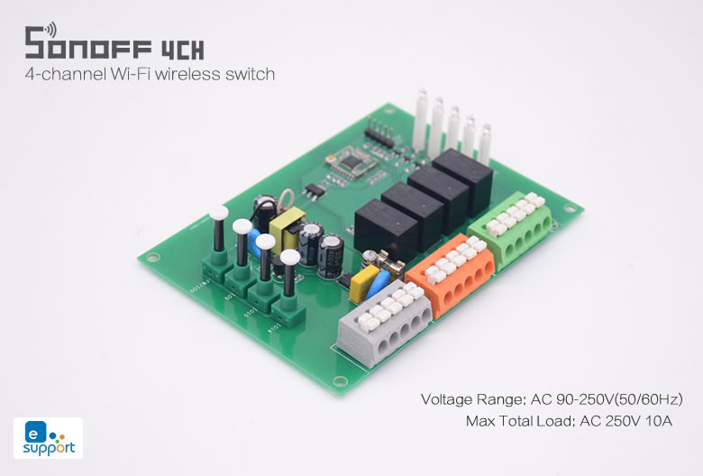 Sonoff 4CH R2 przełączniki przekaźniki sterowane zdalnie przez Wifi 4 kanałowy (4 wyjścia) na szynę DIN IM171108005
