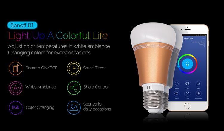 Sonoff B1 inteligentna żarówka LED RGB ze sterowaniem WiFi gwint E27 moc 6W IM171114001