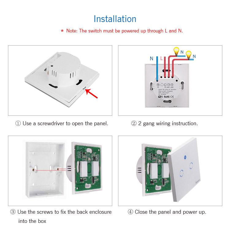 Sonoff T1 EU 2C dotykowy przełącznik światła z sterowaniem WiFi i pilot 433MHz wersja 2 kanałowa IM171018001