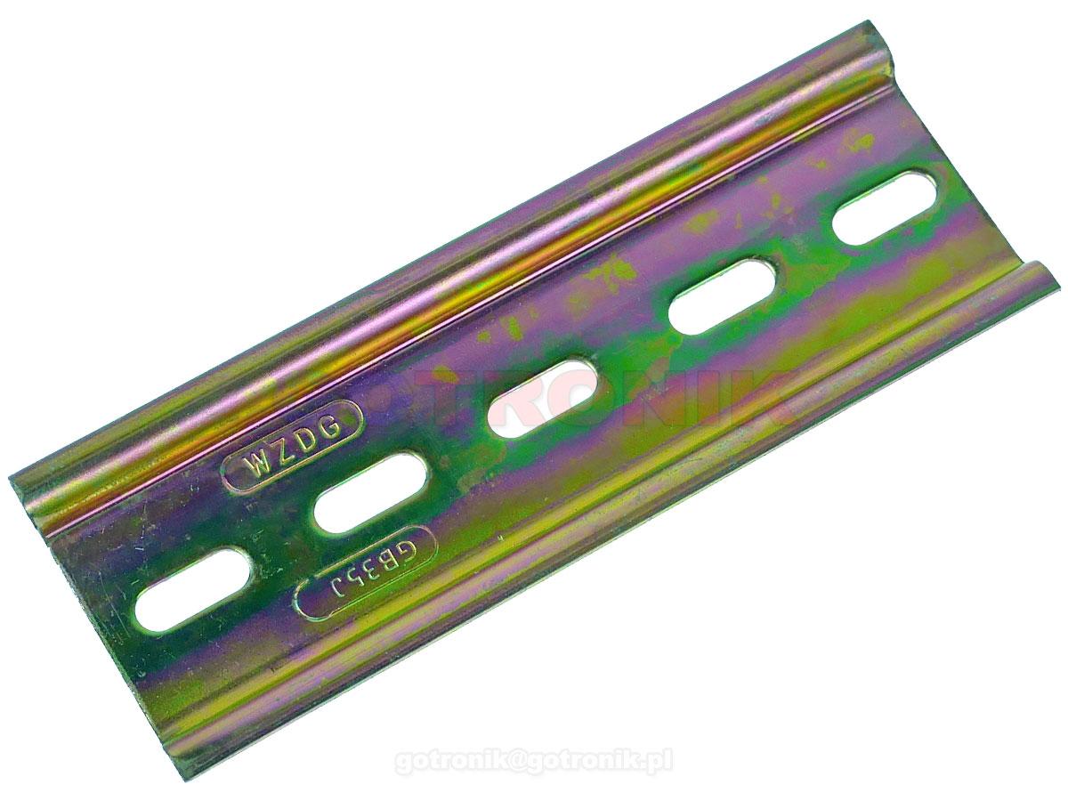 Stalowa szyna DIN 35mm perforowana z 5 otworami montażowymi o długości 10cm TS35 montażowa