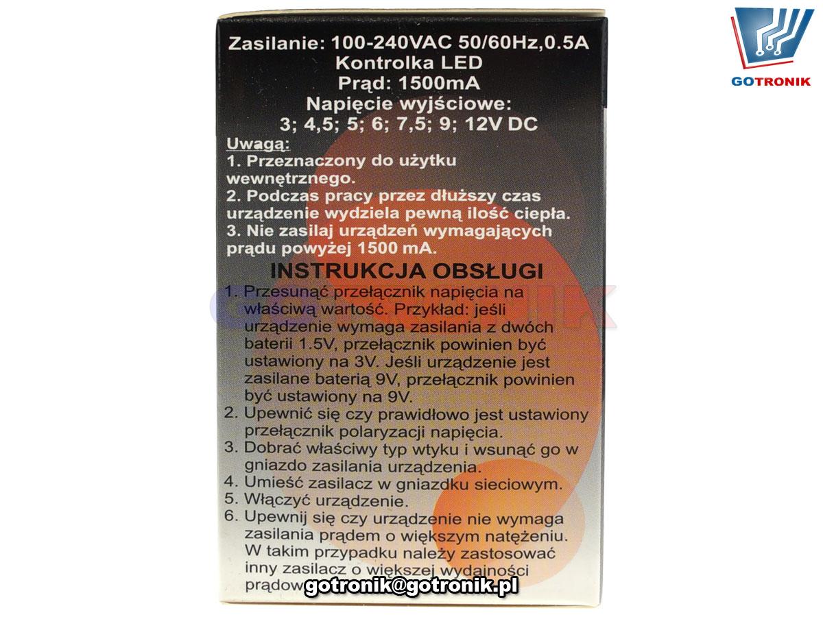 Zasilacz stabilizowany regulowany DC napiecie od 3V do 12V URZ1187 Kemot