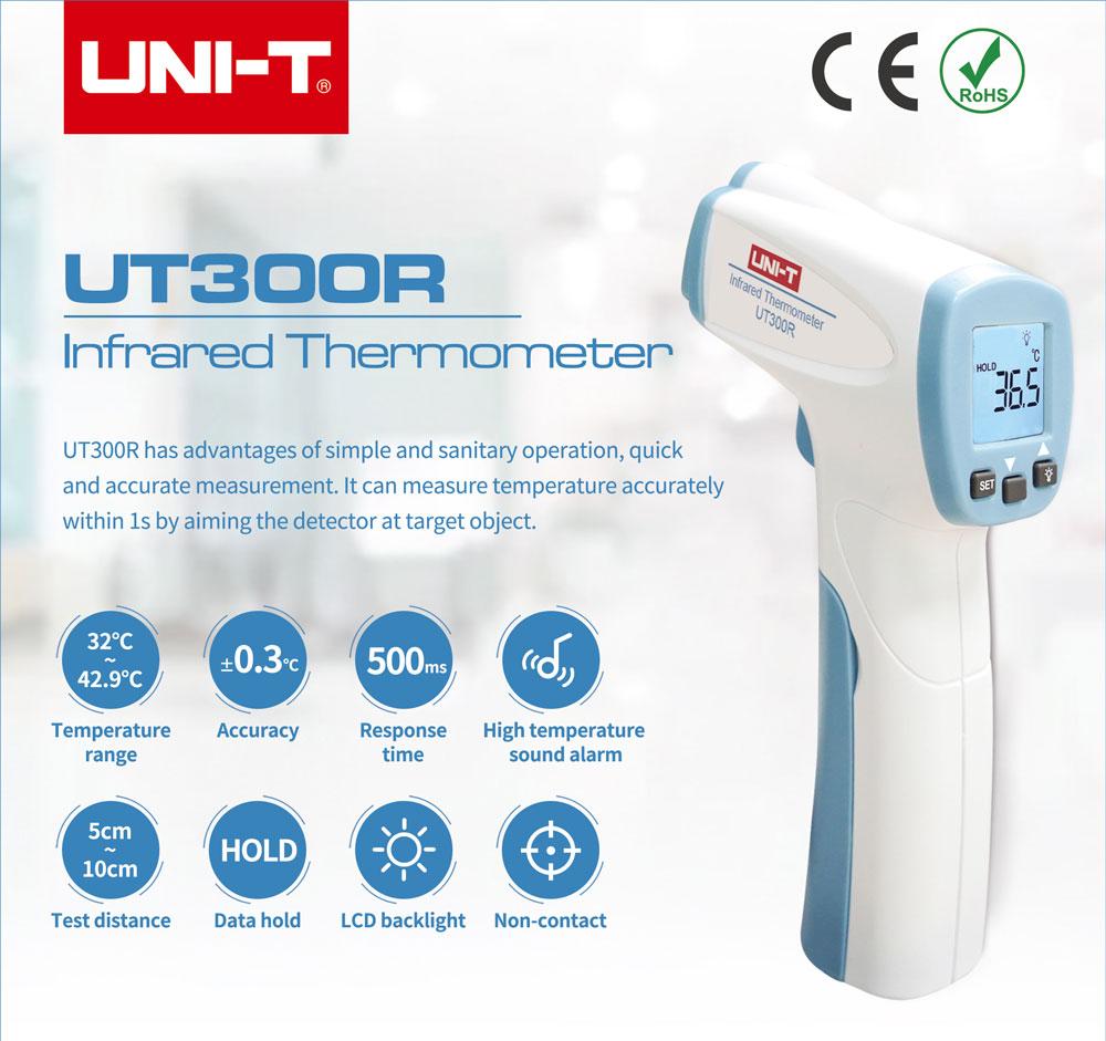 pirometr miernik temperatury, ut300r termometr bezdotykowy na podczerwień, pomiar temperatury ciała zdalny,