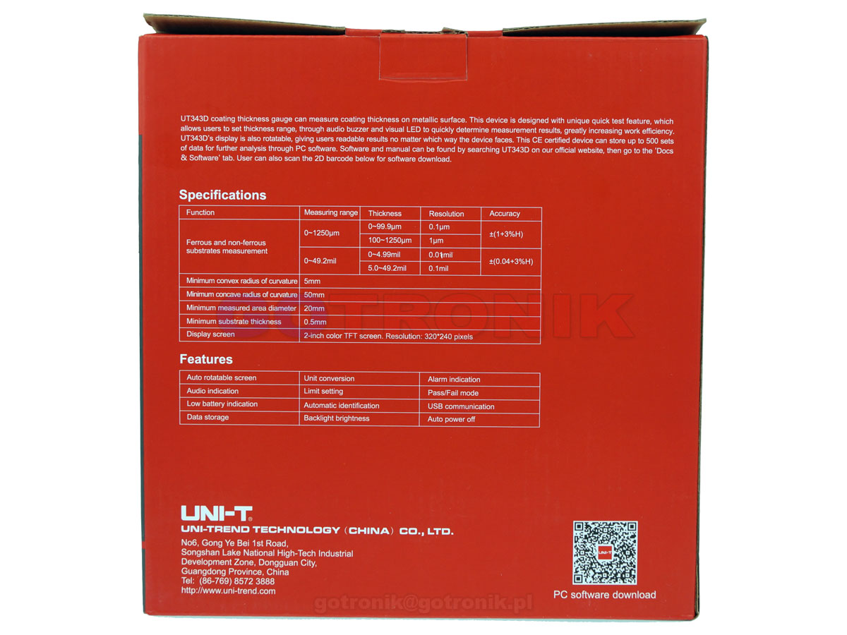 UT343D miernik grubości powłoki lakierniczej