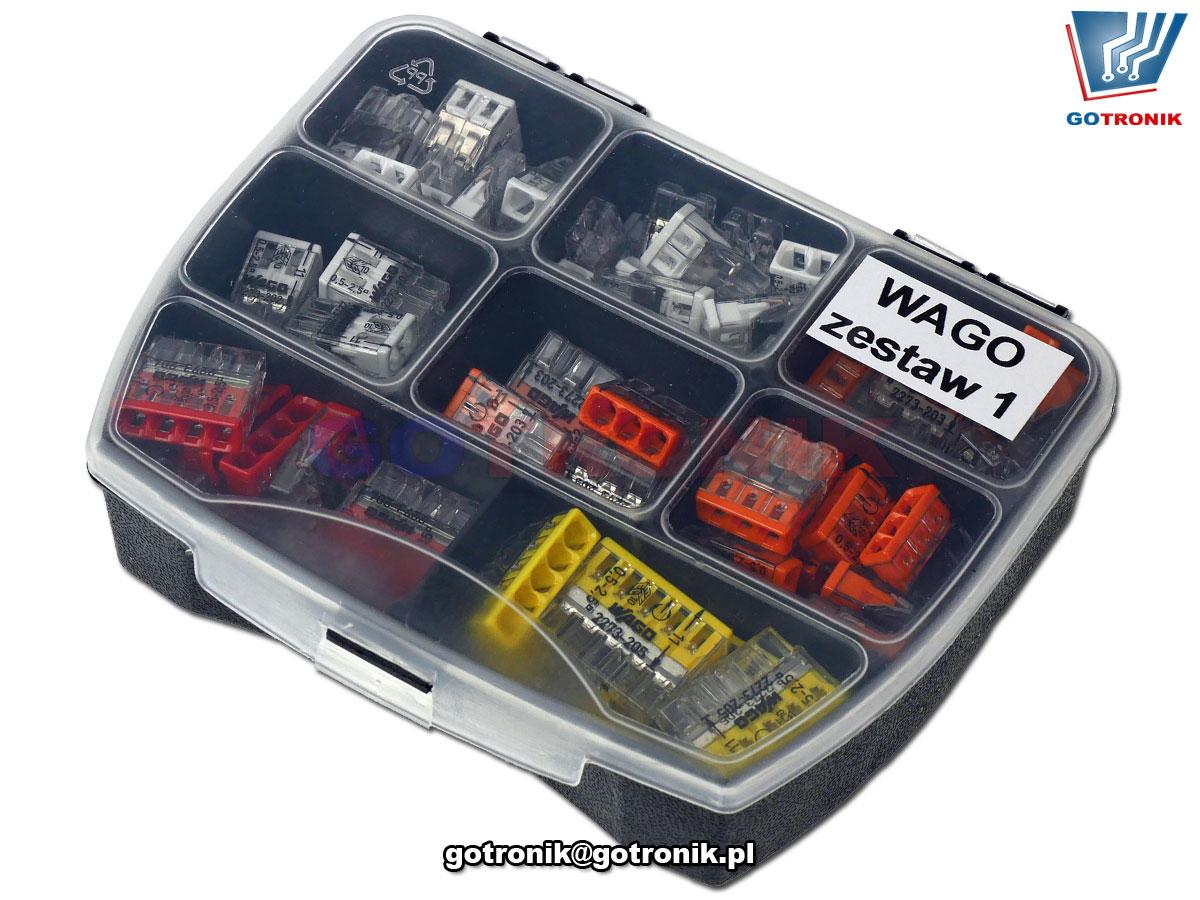 szybkozłączki WAGO zestaw 1 do łączenia przewodów typu drut w instalacjach elektrycznych 2273-202 2273-203 2273-204 2273-205