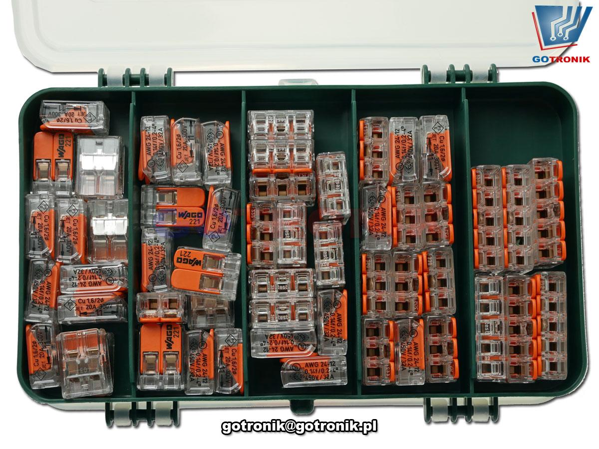 szybkozłączki WAGO zestaw 7 do łączenia przewodów typu drut lub linka w instalacjach elektrycznych 2273-202 2273-203 2273-204 2273-205 221-412 221-413 221-415
