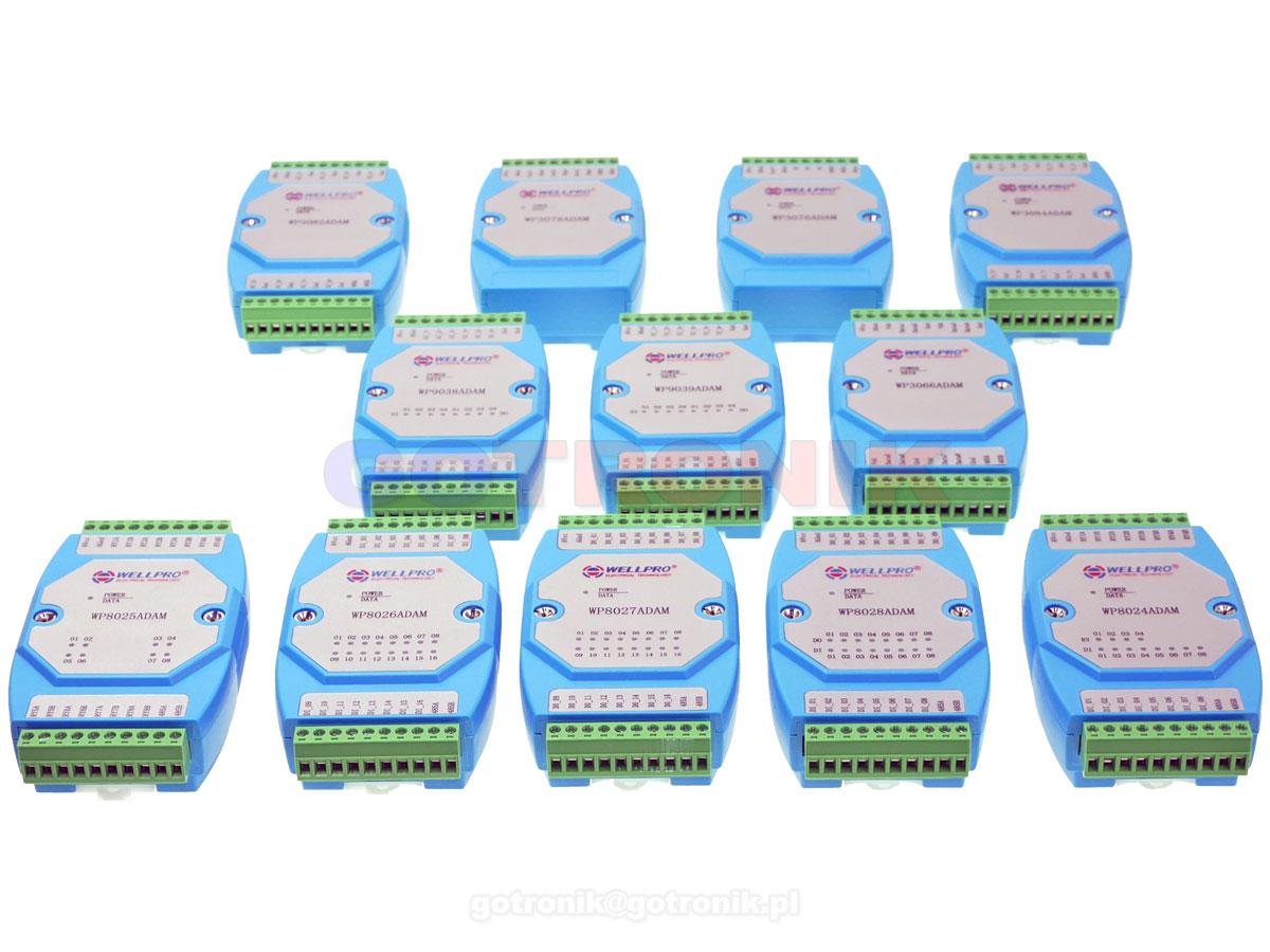 WP8026ADAM, WP3066ADAM, WP3076ADAM, WP3078ADAM, WP3082ADAM, WP3084ADAM, WP8024ADAM, WP8025ADAM, WP8027ADAM, WP8028ADAM, WP9038ADAM, WP9039ADAM, Wellpro, rs485, modbus rtu, szyna din, ts35,