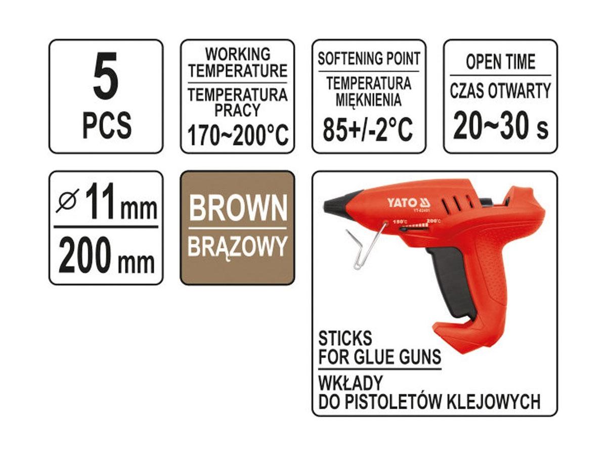 Klej termotoliwy uniwersalny 11,2x200mm 5szt brązowy
