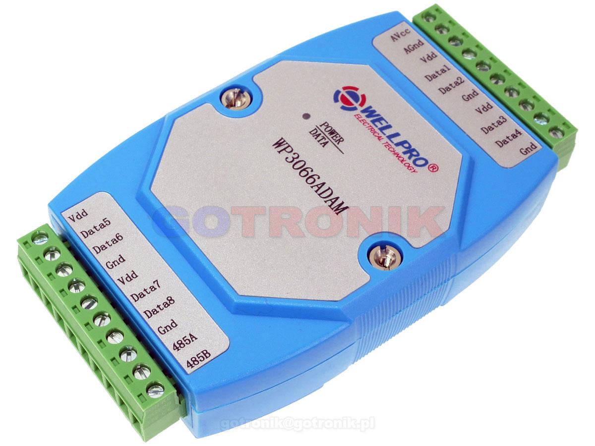 WP3066ADAM WELLPRO DS18B20 temperaturowy moduł akwizycji danych z interfejsem RS485 MODBUS RTU