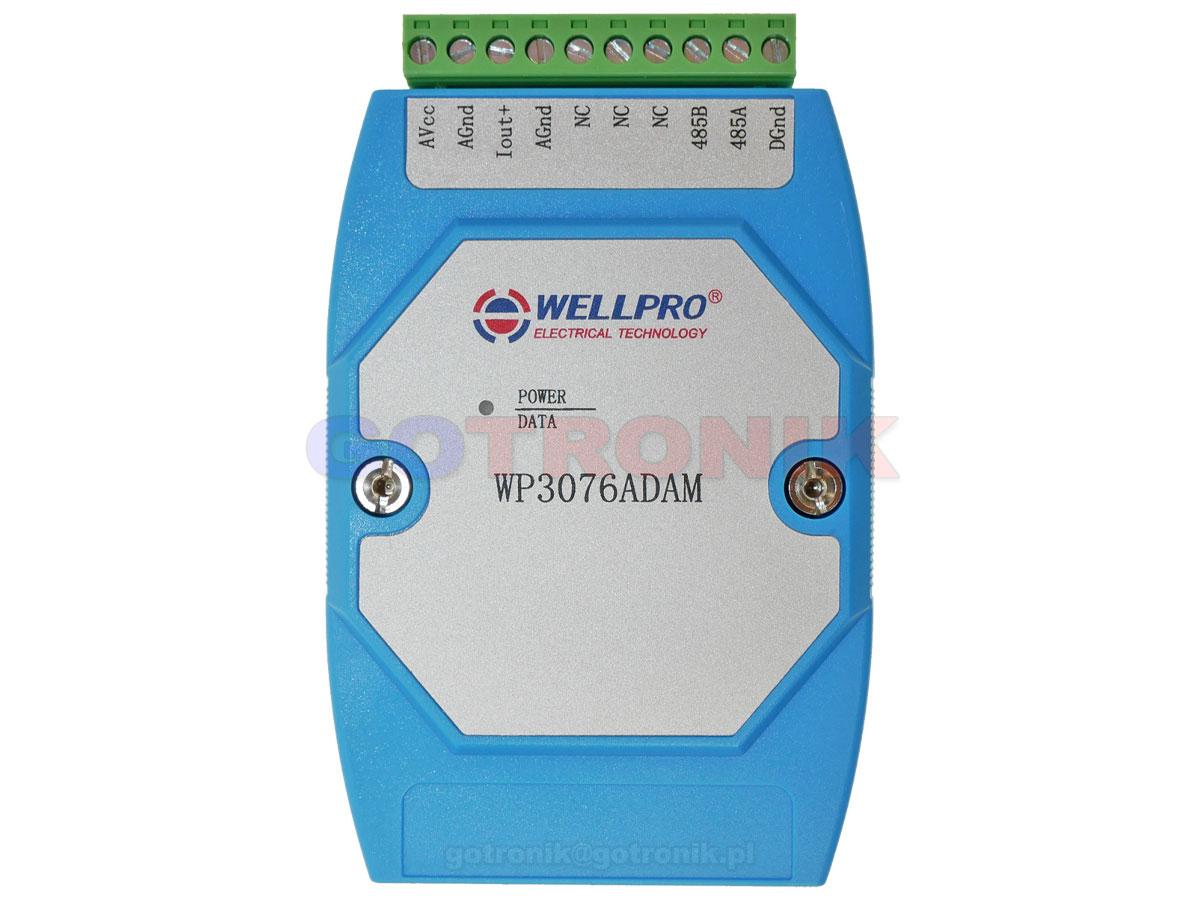 WP3078ADAM 1AO analogowe wyjście prądowe 0-20mA 4-20mA pętla prądowa zadajnik Analog Output WELLPRO RS485 Modbus RTU moduł pomiarowy na szynę DIN TS35