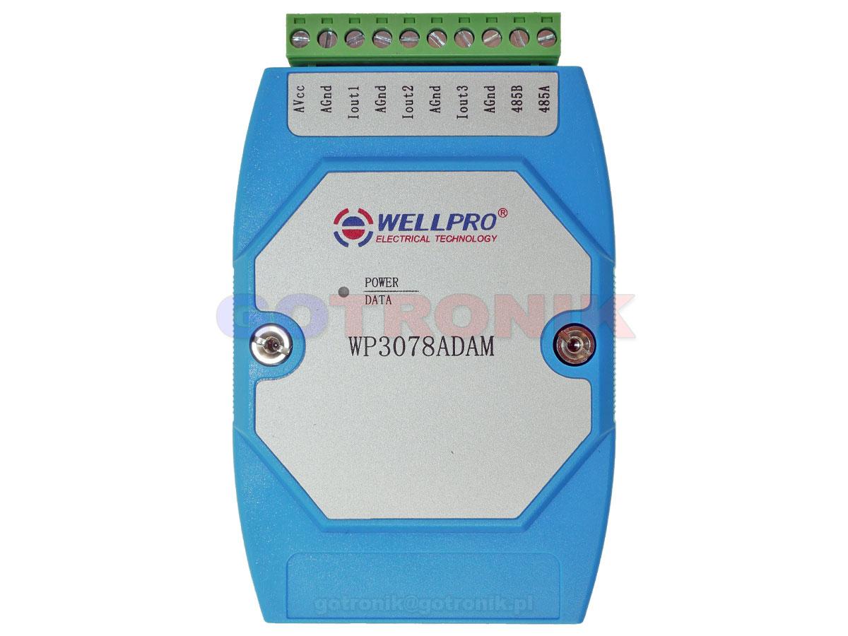 WP3078ADAM 3AO 3 analogowe wyjścia prądowe 4-20mA pętla prądowa zadajnik Analog Output WELLPRO RS485 Modbus RTU moduł pomiarowy na szynę DIN TS35