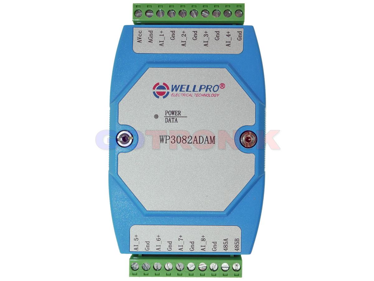 WP3082ADAM 8AI 8 wejść analogowych 0-20m 4-20mA Analog Input WELLPRO RS485 Modbus RTU
