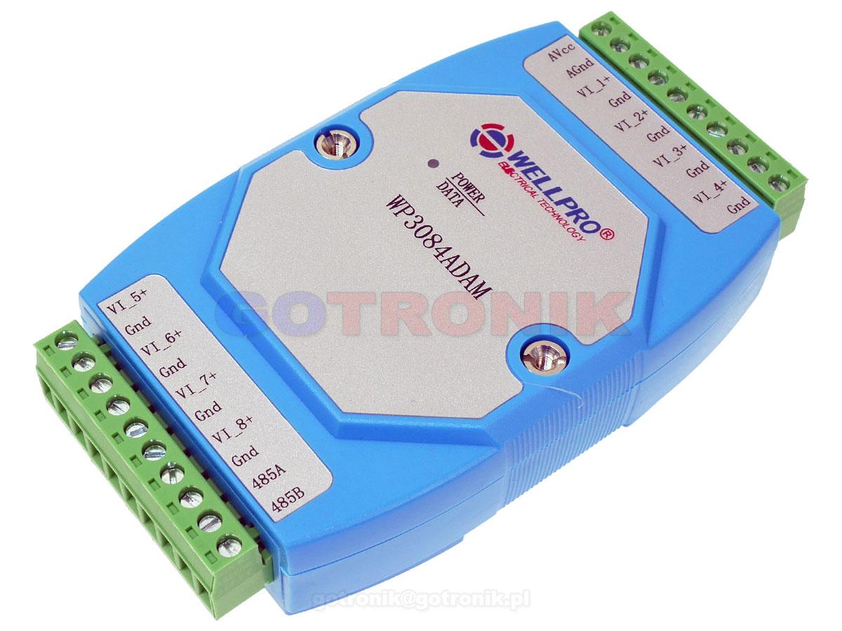 WP3084ADAM 8VI 8 wejść analogowych napięciowych 0-10V Voltage Input WELLPRO RS485 Modbus RTU moduł pomiarowy na szynę DIN TS35