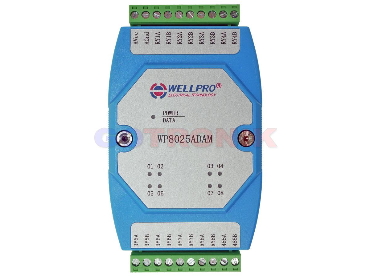WP8025ADAM 8RO wyjście przekaźnikowe 8 przekaźników WELLPRO RS485 Modbus RTU