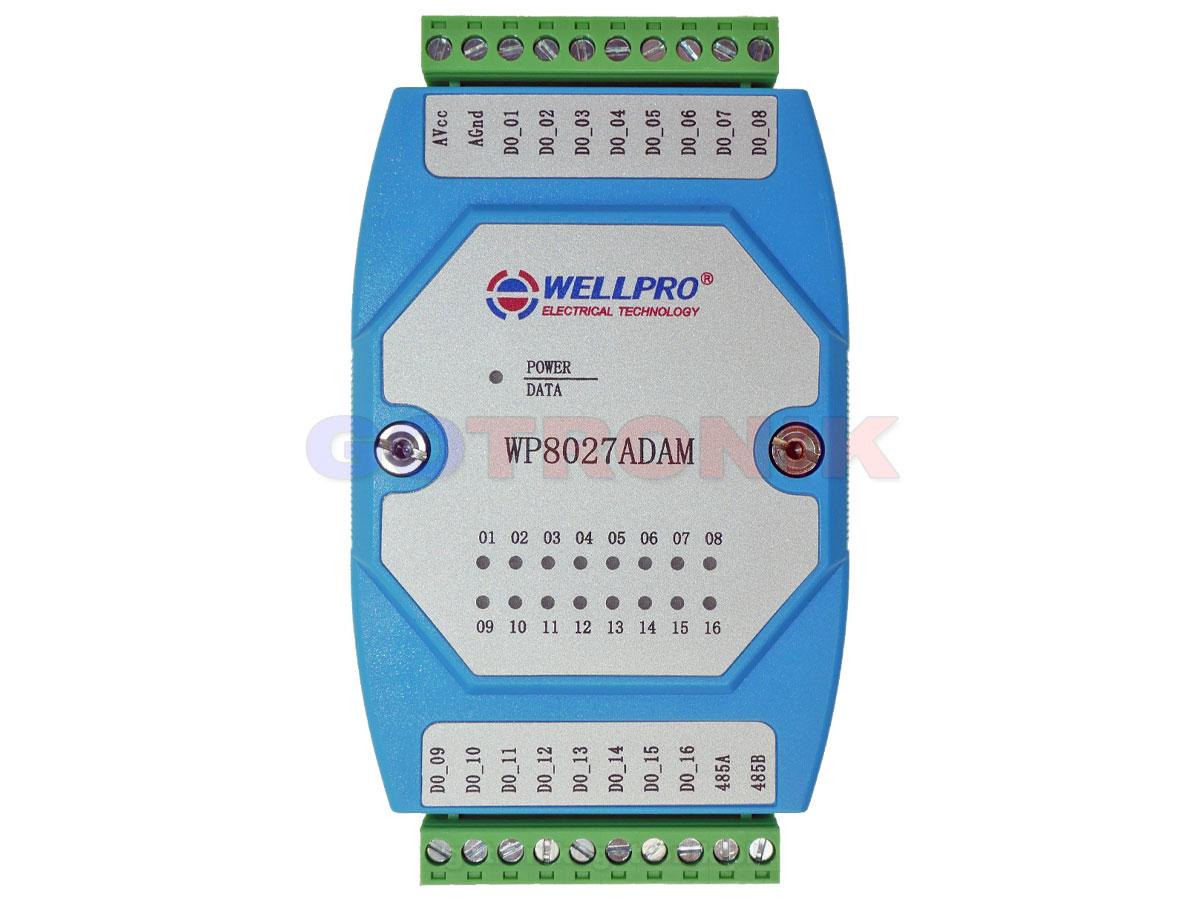 WP8027ADAM 16DO 16 wyjść cyfrowych Digital Output otwarty kolektor WELLPRO RS485 Modbus RTU