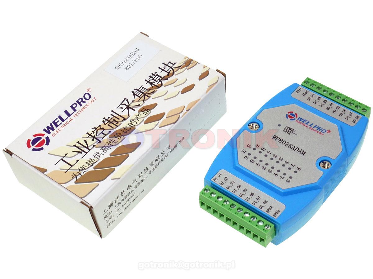 WP8028ADAM 8DI 8 cyfrowych wejść 8DO wyjść Digital Output otwarty kolektor NPN WELLPRO RS485 Modbus RTU