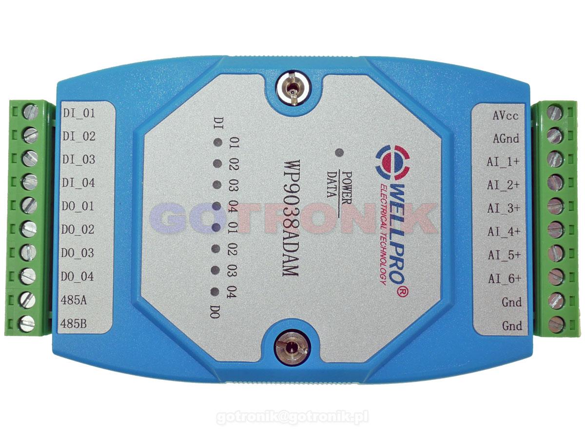WP9038ADAM 6AI 6 wejść analogowych0-20m 4-20mA 4DO wyjścia Digital Output otwarty kolektor NPN WELLPRO RS485 Modbus RTU