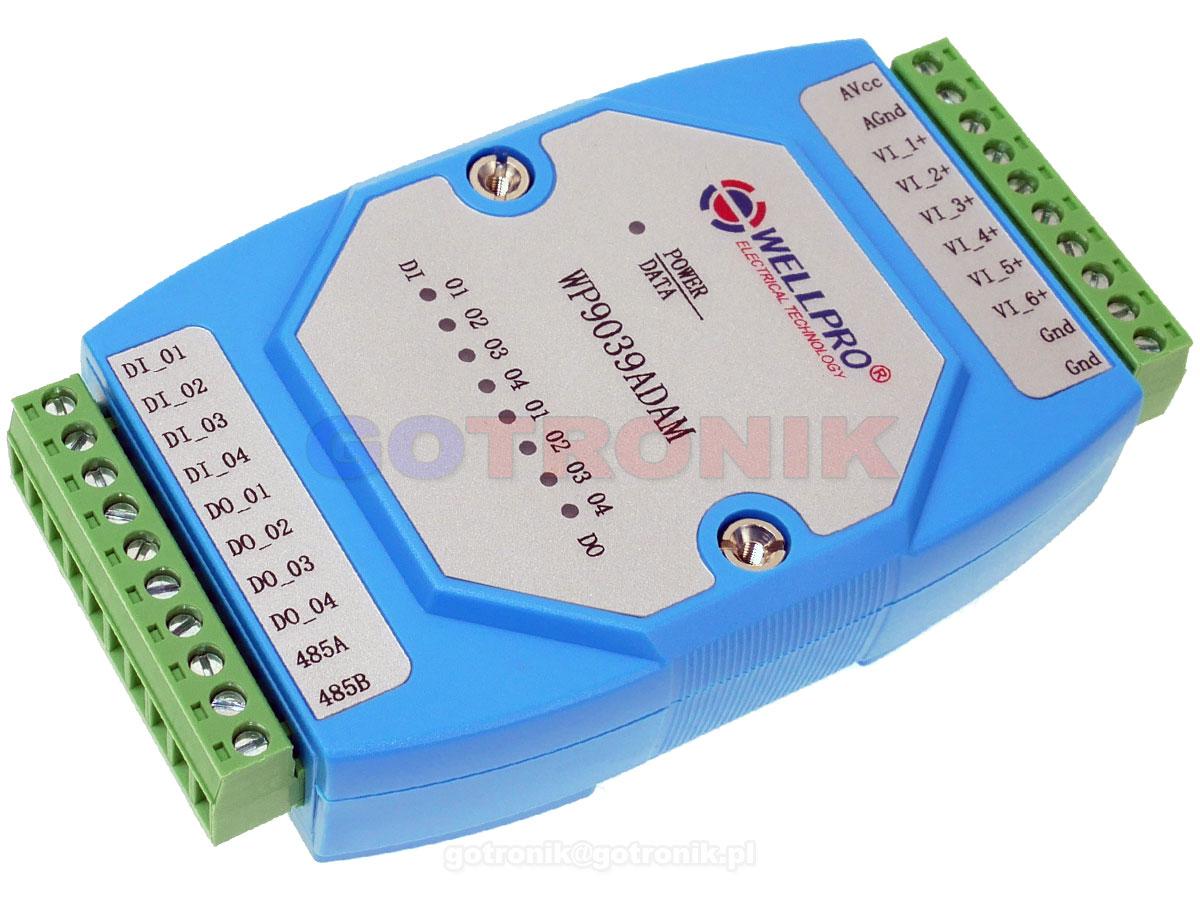 WP9039ADAM, 6VI 6 analogowych wyjść napięciowych 0-10V, 4DI 4 cyfrowe wejścia, 4DO 4 cyfrowe wyjścia otwarty kolektor NPN, WELLPRO RS485 Modbus RTU moduł pomiarowy na szynę DIN TS35