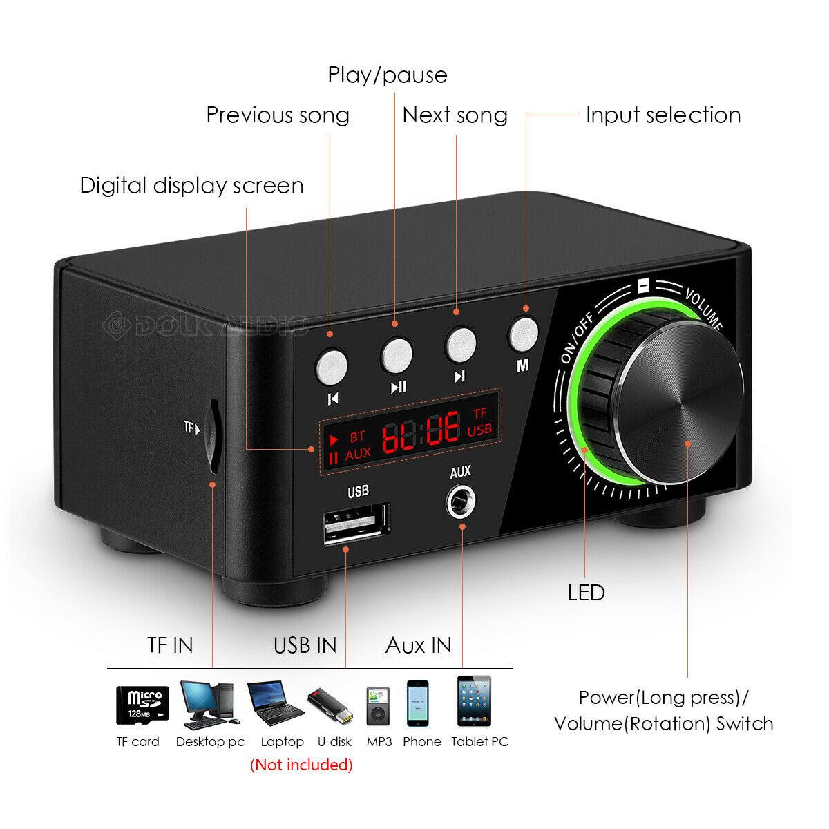 Wzmacniacz mocy 2x50W Bluetooth 5.0 USB Aux audio TPA3116 klasa D NAR-232