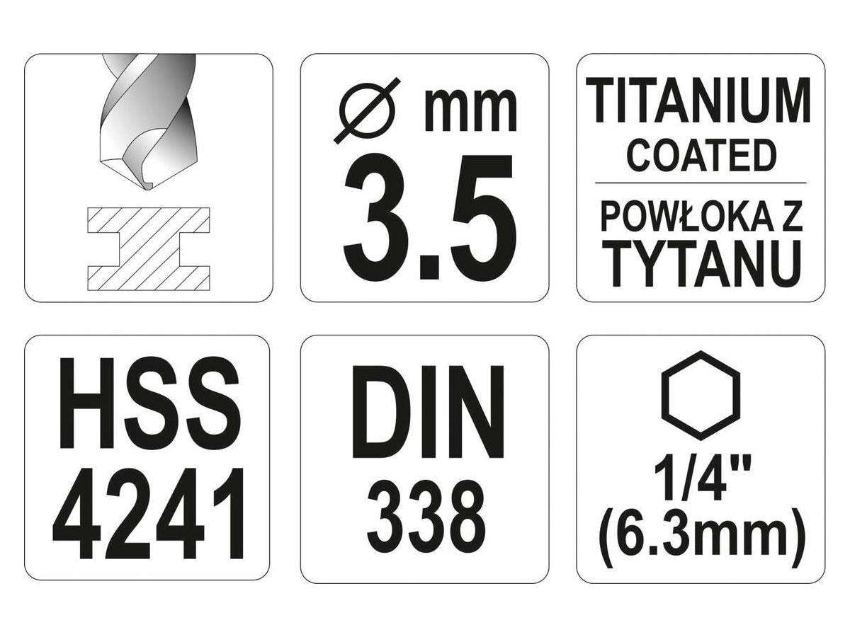 Wiertło do metalu HSS-TiN 3,5mm Hex