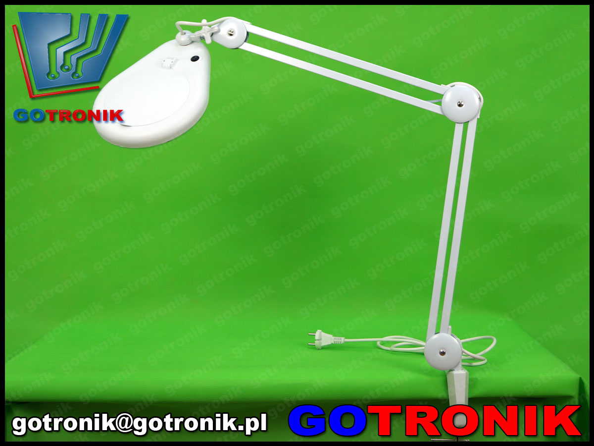 lampa z lupą 8d powiększająca soczewka 8dioptrii lampa led smd x56 9w 5cali 127mm warsztatowa kosmetyczna biała statywie LAM-022 650lm serwisowa 8066d2