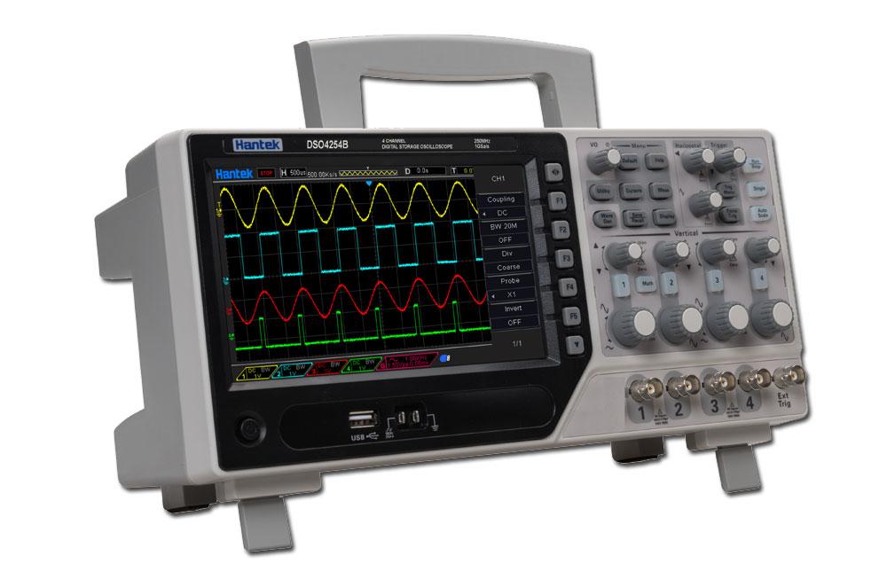 dso4254C Hantek, oscyloskop cyfrowy, oscyloskop czterokanałowy, oscyloskop z generatorem, oscyloskop dekodowanie magistral szeregowych, generator przebiegów dds,