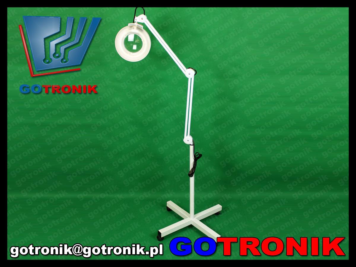 lampa z lupą na statywie z kółkami 5 dpi 5 dioptrii 22W